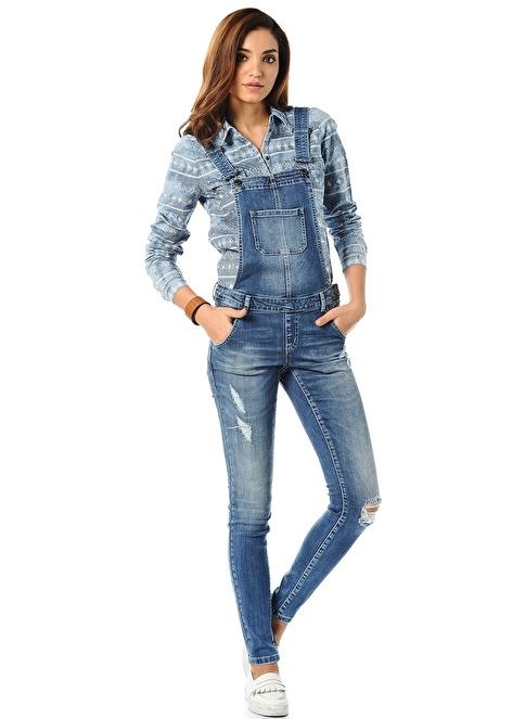 Vero Moda Jean Salopet Mavi